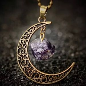 Crescent Moon Faux Amethyst Necklace